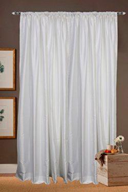 White Faux Silk Satin Dupioni Curtains, Each 51″ (130 cm) Wide X 84″ (214 cm) Long,  ...