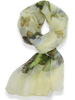 Womens 100% Silk Butterfly Pattern Scarf (Sand)