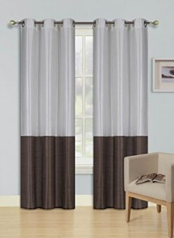 GorgeousHomeLinen (EID) 1PC IVORY – BROWN 2 Tone Faux Silk Window Curtains Foam Lined Blac ...