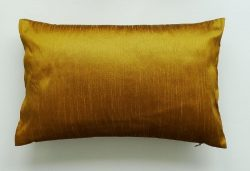 Dreamhome – 12″ X 18″ Solid Faux Silk Decorative Pillow Cover – Brassy Gold