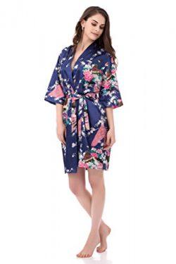 gusuqing Women's Printing Peacock Kimono Robe Short Sleeve Silk Bridal Robe Navy L