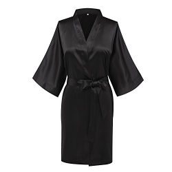 Goodmansam Womens Simplicity Stlye Bridesmaid Wedding Party Kimono Robes, Short, XXX-Large, Pure ...