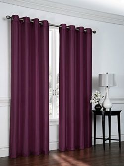 2 Pack: Regal Home Collections Semi Sheer Faux Silk Grommet Curtains – Assorted Colors (Plum)