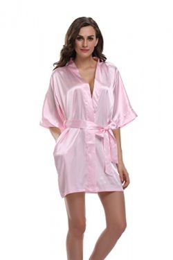 Sunnyhu Women's Pure Color Kimono Robe, Short (L, Baby Pink)