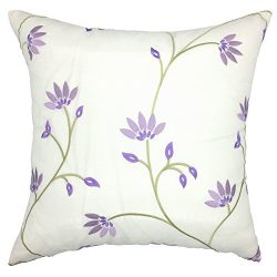 YOUR SMILEDecorative Throw Pillow Case Cushion Cover Cotton Embroidered Jacquard Flower 18× ...