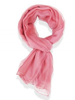 V28® Womens Multi Radient Colors 100% Pure Silk Scarf (41 x 69 inches, PurePink)
