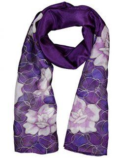 Women's 100% Silk Hand-Painted Lightweight Rectangular Scarf Neckerchief- Monochrome Roses ...