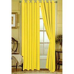 LuxuryDiscounts 2 Piece Solid Yellow Faux Silk Grommet Window Curtain Treatment Panel Drapes 54& ...