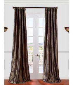 Half Price Drapes PTCH-JTSP27-96 Faux Silk Taffeta Curtain, Mushroom