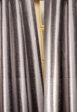 Metallic tone raw faux silk curtain/panel/drape (Silver Gray, 52″W X 108″L)