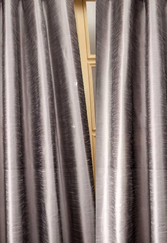 Metallic tone raw faux silk curtain/panel/drape (Silver Gray, 52″W X 108″L)