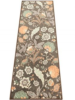 Silk & Sultans Agathe Collection Floral Design, Pet Friendly, Non-Skid Runner Rug with Rubbe ...