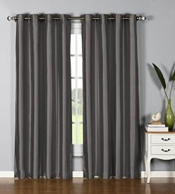 Window Elements Jane Faux Silk 76 x 84 in. Grommet  Curtain Panel Pair, Charcoal