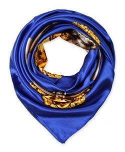 corciova Elegant Women's Neckerchief Silk Feeling Satin Square Scarf Wrap 35″ Pearl  ...
