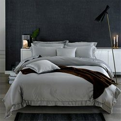 Lotus Karen Luxury Gorgeous Washed Silk Satin Bedding Sets, 4-piece Includes 1Duvet Cover,1Bed S ...