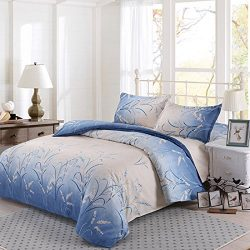 Blue Duvet Cover Set Nanko Lightweight Printed Microfiber Luxurious Comfortable Breathable Soft  ...