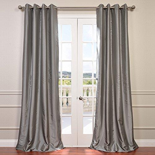 Half Price Drapes PTCH-BO112-108-GR Grommet Blackout Faux Silk Taffeta Curtain, Platinum