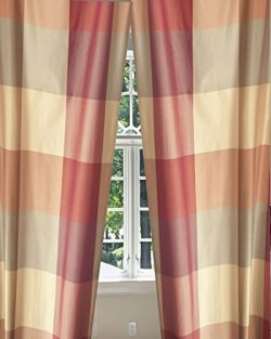 Buffalo Checks Silk Taffeta Living Room Window Lined Rod Pocket Curtain Panel Drape (52W X 96L)