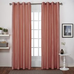 Exclusive Home Curtains Chatra Faux Silk Grommet Top Window Curtain Panel Pair, Coral, 54×84