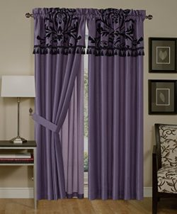 Chezmoi Collection 4-Piece Flocked Floral Faux Silk Window Curtain Set with Sheer Backing Valanc ...