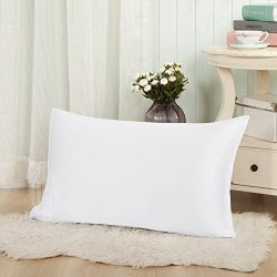 THXSILK 19mm Mulberry Silk Pillowcase for Baby Toddler Child Travel 12×16 inch, White