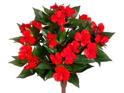 13.5″ Silk New Guinea Impatiens Flower Bush -Tomato Red (case of 6)
