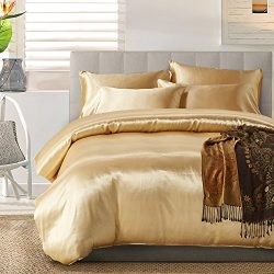 HOMIGOO 3PCS Silk Like Fabric Summer Cool Bedding Set Solid Comforter Cover Queen Camel