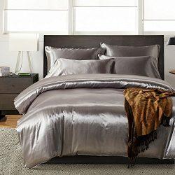 HOMIGOO 3PCS Silk Like Fabric Summer Cool Bedding Set Solid Comforter Cover Queen Grey