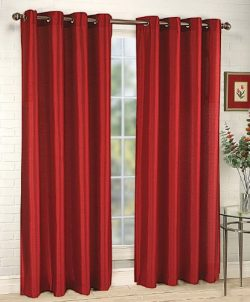Stylemaster Tribeca 56 by 95-Inch Faux Silk Grommet Panel, Crimson