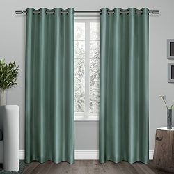 Exclusive Home Curtains Shantung Faux Silk Thermal Grommet Top Window Curtain Panel Pair, Teal,  ...