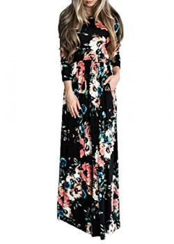 Women's Long Sleeve Boho Evening Party Floral Maxi Dress With Pockets Black XL