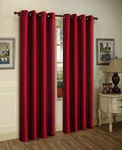Wine Burgundy Solid 1Pc Grommet Panel Solid Silk Window Curtain Drapes Many Colors 55″ X 8 ...