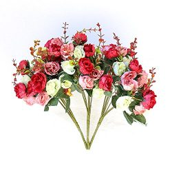 European Rose1 Bunch 21 Flowers Silk Rose Artificial Rose Silk Bouquets Decoration Flowers silk  ...