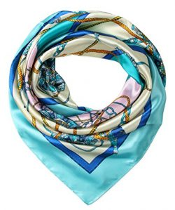 corciova Women's Large Satin Square Silk Feeling Hair Scarf 35 x 35 inches Chains Blizzard ...