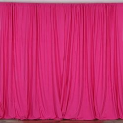 BalsaCircle 10 ft x 10 ft Polyester Professional Backdrop Curtains – Fuchsia