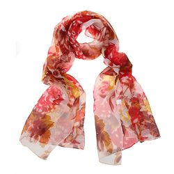 ChikaMika Womens Priting Floral Pattern Chiffon Silk Scarves (Red)