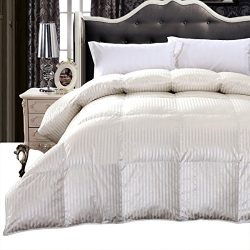 Royal Hotel Collection, Full/Queen, Silk 900-Thread Count White Goose Down Comforter 50oz, 750 f ...