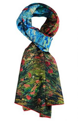 Salutto Women 100% Silk Scarves Van Gogh Poppies Painted Scarf (16)