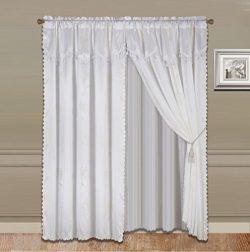 GorgeousHomeLinen 8-Piece White Nada Luxury Faux Jacquard Flower Design Panel, Rod Pocket Window ...