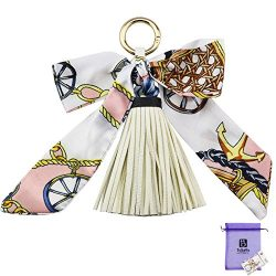 Bolbove Pretty Silk Like Scarf & Leather Tassels Keychain Backpack Keyring Purse Pendant Han ...