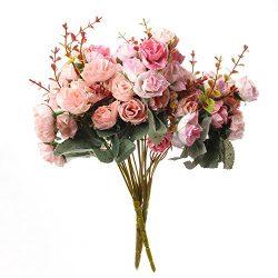 21 Flowers European Rose Silk Rose Artificial Flower Silk Bouquets Decoration Flowers silk plant ...