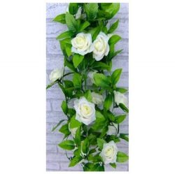 1 X Artificial Rose Silk Flower Green Leaf Vine Garland Home Wall Party Decor Wedding Decal (Beiges)