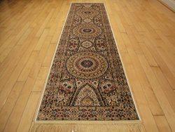 Silk Persian Qum Design Area Rug 2×8 Beige Rug Ivory Carpet Hallway Runner 2×7 Area Ru ...