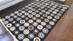 Black Ivory Grey Brown New Silk Music Vinyl Records Circles Area Rugs Ultra Low Pile 2'2&# ...
