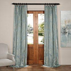 Half Price Drapes JQCH-20122053-96 Magdelena Faux Silk Jacquard Curtain,Steel Blue & Silver, ...