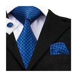 Hi-Tie Mens Classic Blue Plaids Woven Silk Tie Pocket Square Cufflinks set
