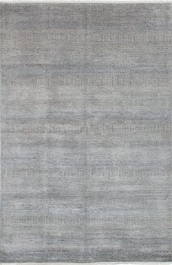 "Ecarpetgallery Hand-knotted Silk Shadow Open Field 5'11"" x 9'1″ Grey 50% ..."