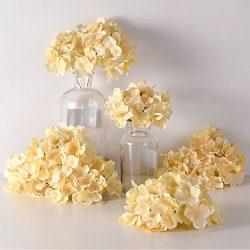 PARTY JOY Artificial Silk Hydrangea Flower Heads Fabric Floral DIY For Wedding Home Flower Wall  ...