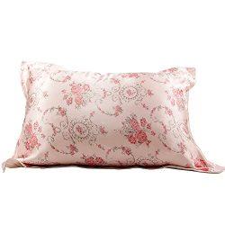 IBraFashion Silk Pillowcase for Hair and Skin Beauty Pink Roses Print Girl Silk Pillowcase Stand ...