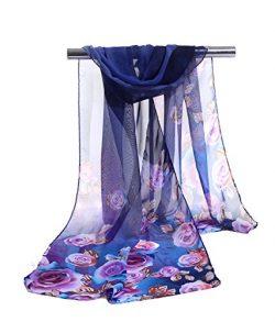 E-Clover Lightweight Chiffon Sheer Scarves: Women's Pretty Rose Print Scarf (Navy Blue)